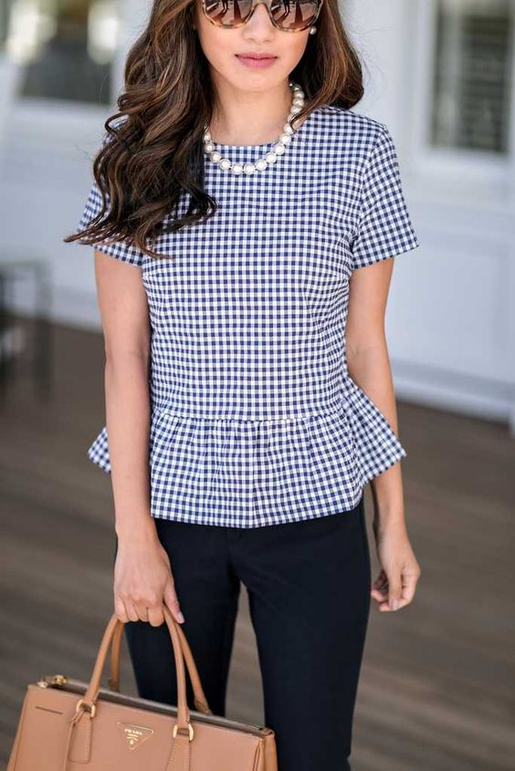 a peplum gingham top and a strand of pearls will make you look much older