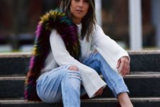 13 blue ripped denim, a white bell sleeve short, red wedges and a colorful faux fur scarf