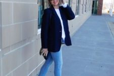 13 blue skinnies, a white shirt, a navy blazer, brown strappy heels and a little bag