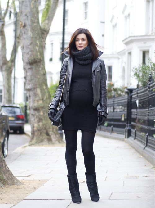 a black sweater dress with an infinity scarf, black tights, booties and a leather jacket plus gloves