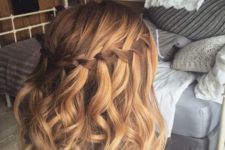 14 a wavy bob with a waterfall braid looks very cute and romantic, give it a try