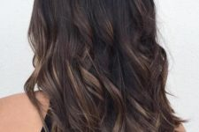 14 deep brown black hair with bronde balayage is a great darker tone idea with a dimension and texture