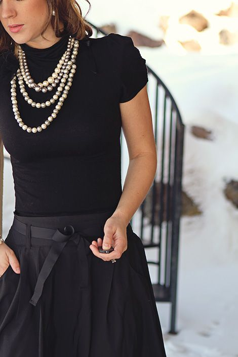 layered pearl necklaces look very old-fashioned and will add years to your look