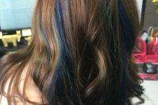 14 long chestnut wavy hair with deep blue peekaboo highlights that make it playful