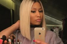 15 Niki Minaj rocking an angled long bob in platinum blonde plus a dark root – just amazing