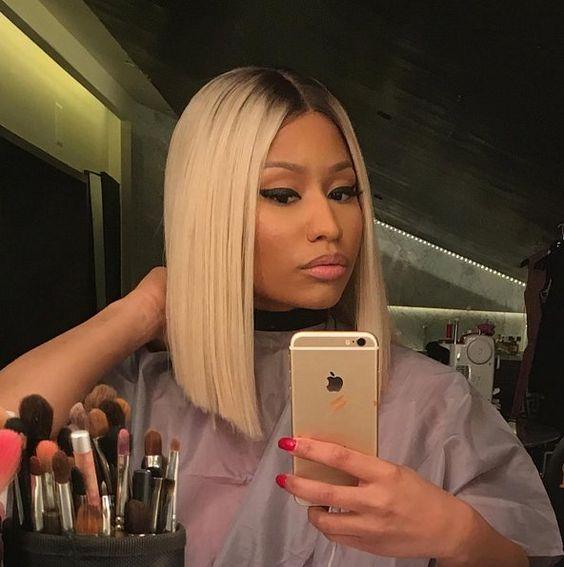 Niki Minaj rocking an angled long bob in platinum blonde plus a dark root   just amazing