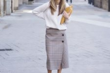15 a white sweater, a plaid midi skirt on buttons and nude heels is a chic idea
