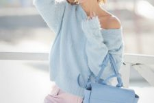 15 blush pants, a powder blue one shoulder sweater and a matching pastel bag for fall