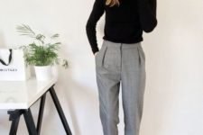 15 grey cropped pants, white sneakers, a black turtleneck are all you need for a comfy casual work look