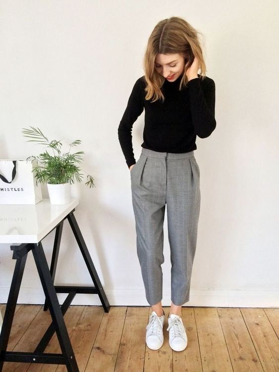 grey cropped pants, white sneakers, a black turtleneck are all you need for a comfy casual work look