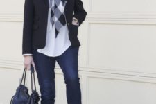 15 navy jeans, a white top, a plaid scarf, a black blazer, nude flats and a black bag