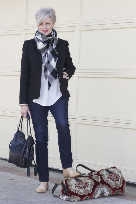 navy jeans, a white top, a plaid scarf, a black blazer, nude flats and a black bag
