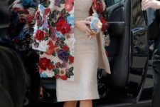 15 rock bright pops of color wearing such a floral applique coat, all the rest of the look can be neutral