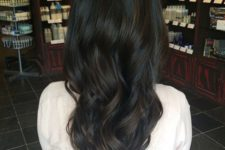 15 soft black hair with deep brown balayage and trendy waves for a gorgeous fashoinable look