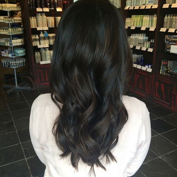 soft black hair with deep brown balayage and trendy waves for a gorgeous fashoinable look