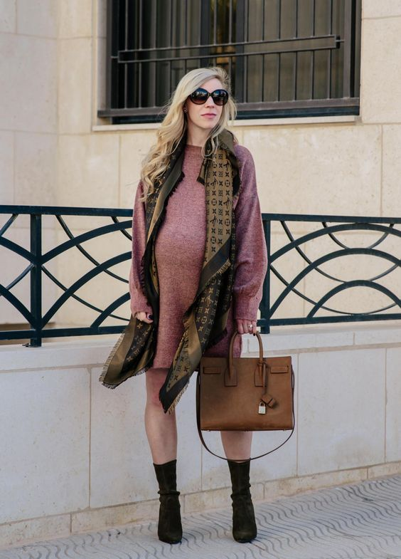 a pink sweater dress, black sock boots, a printed scarf and a brown bag for maximal comfort