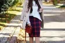 16 a white top, a plaid pencil skirt, leopard print shoes, a neutral trench and a polka dot bag