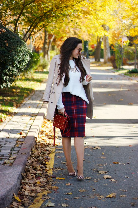a white top, a plaid pencil skirt, leopard print shoes, a neutral trench and a polka dot bag