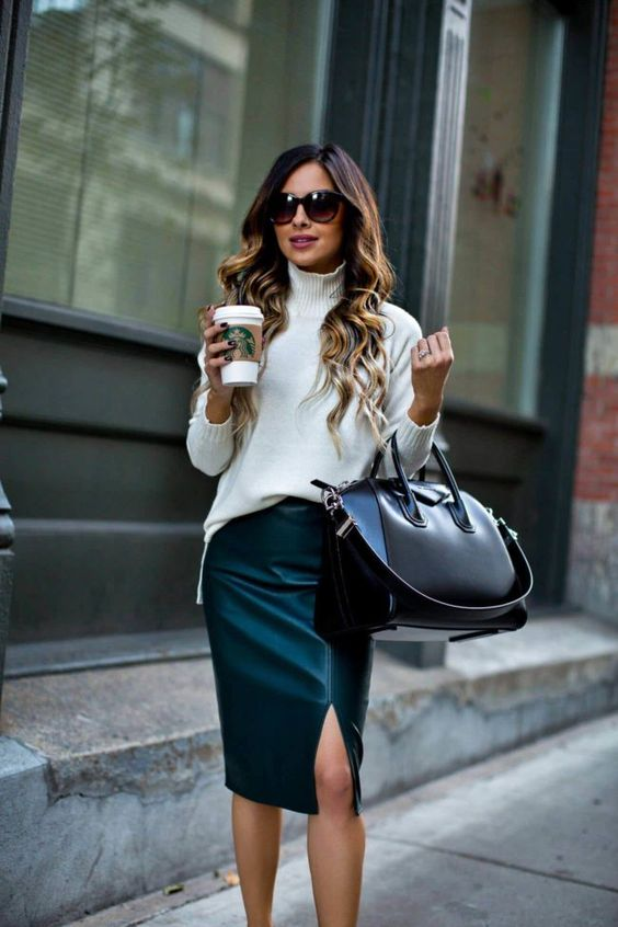 an emerald leather midi skirt, a white turtleneck and a black bag for a stylish fall work look