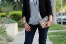 16 navy skinnies, a grey tee, a black cropped blazer, snake print flats and a grey clutch for work