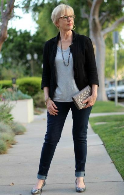 navy skinnies, a grey tee, a black cropped blazer, snake print flats and a grey clutch for work