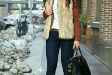 16 navy skinnies, a white tee, mustard shoes, a rust leather jacket and a faux fur waistcoat