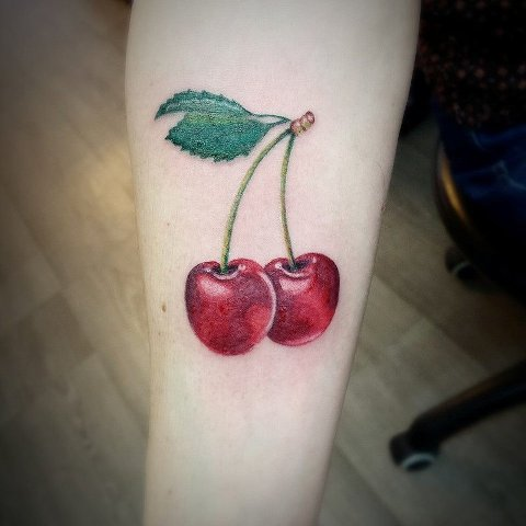 Awesome 3D cherry tattoo