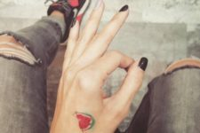 Awesome watermelon tattoo on the hand