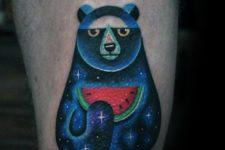 Bear holding a watermelon tattoo idea