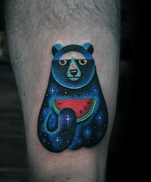 Bear holding a watermelon tattoo idea