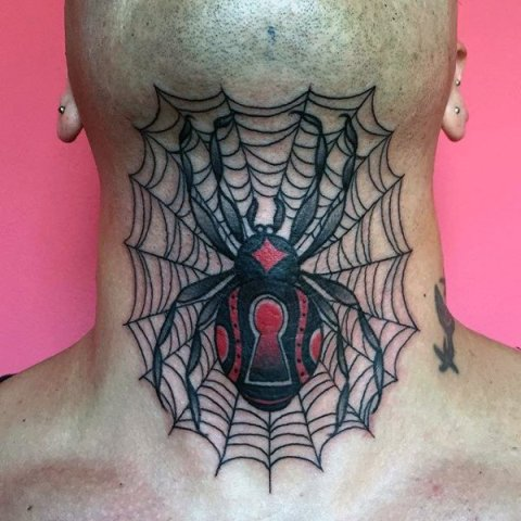 Black and red spider and web tattoo on the neck