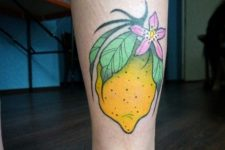 Cartoon tattoo on the leg