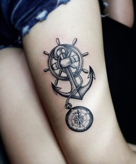 Compass, anchor and ship wheel tattoo