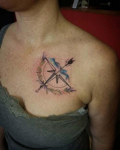 Compass and arrow tattoo