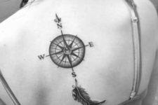 Compass and feather tattoo idea