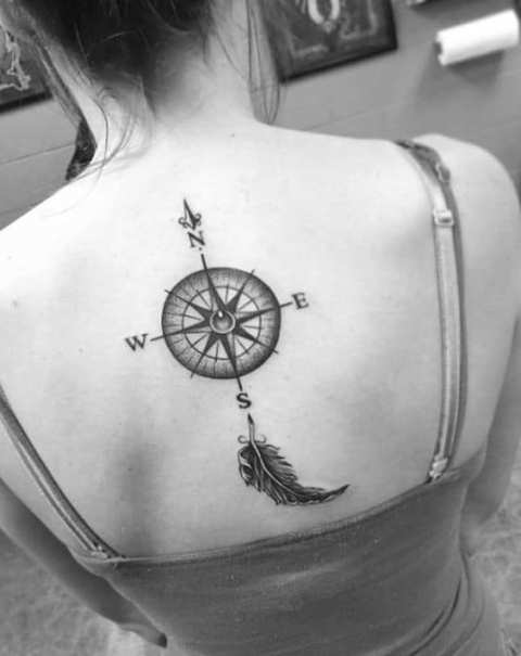 Compass and feather tattoo idea