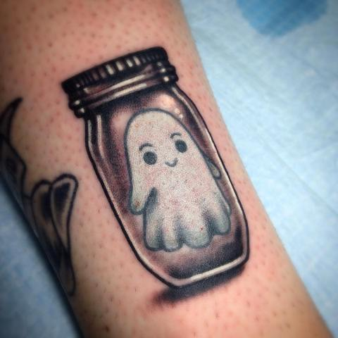 Cute ghost in jar tattoo design