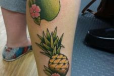 Fruit tattoos on the leg