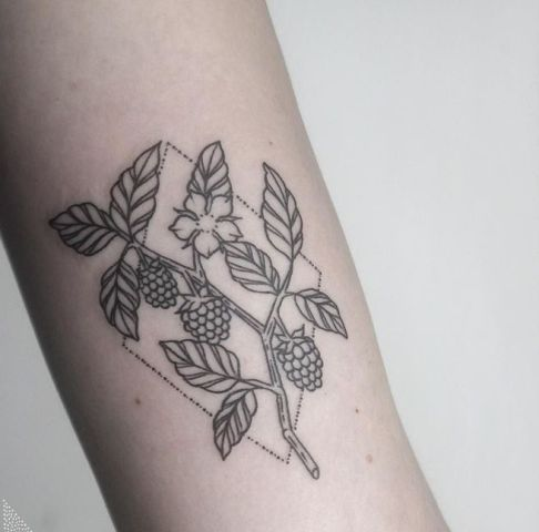 Geometric botanical tattoo idea