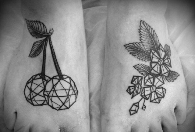 Geometric cherry tattoo on the foot