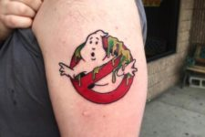 Ghostbusters sign tattoo on the shoulder
