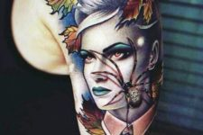 Lady and spider tattoo on the arm