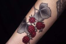 Marsala raspberry and gray leaves tattoo