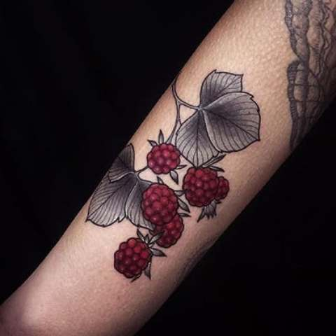 Marsala raspberry and gray leaves tattoo