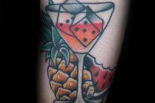 Martini glass, pineapple and watermelon tattoo