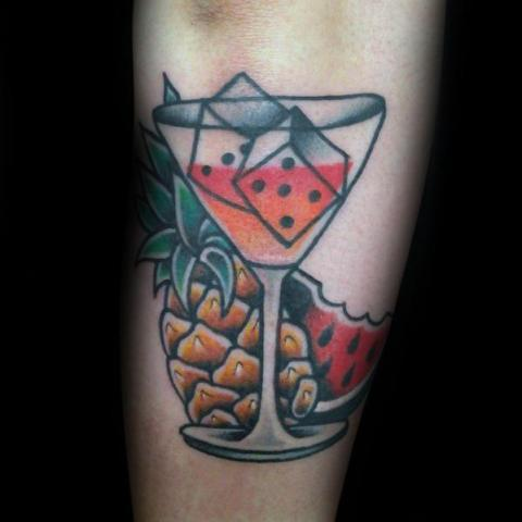 Martini glass, pineapple and watermelon tattoo