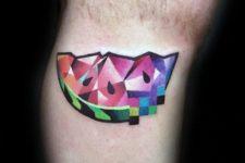 Modern tattoo design on the leg