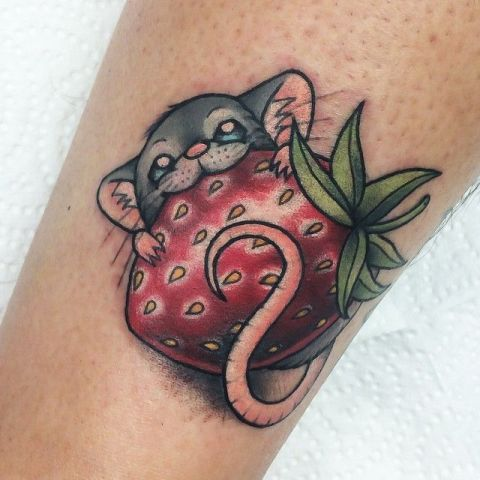 Mouse and strawberry tattoo idea