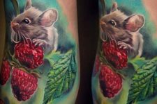 Mouse with raspberry tattoo idea