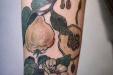 Pear and flower tattoo idea
